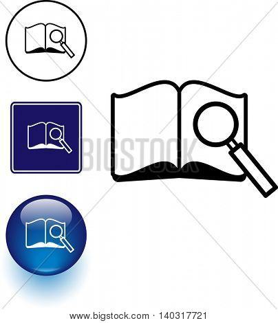 open book and magnifier symbol