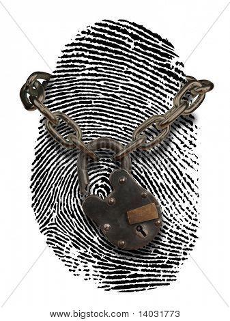 Fingerabdruck mit offenen Vorhängeschloss und Kette drapiert über es