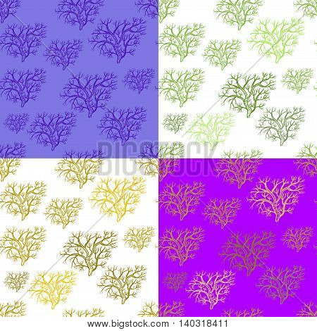 Set Of Seamless Pattern Silhouette Of Trees In The Winter. Vector Illustration