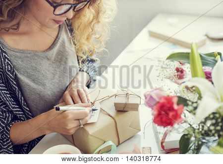 Woman Writing Card Gift Present Concept