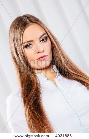 Young Woman Office Worker Stand Indoors.