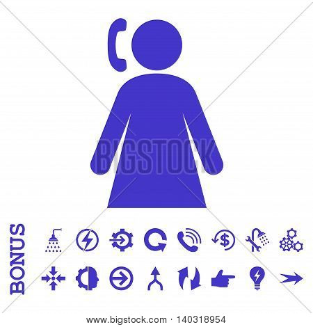 Calling Woman glyph icon. Image style is a flat iconic symbol, violet color, white background.