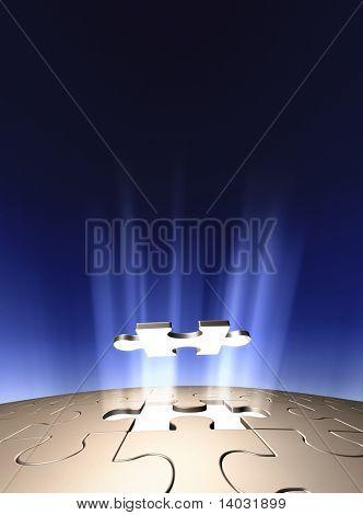 Arte 3D conceptual mostrando la última pieza del rompecabezas que bajaba en su lugar. Montón de copyspac