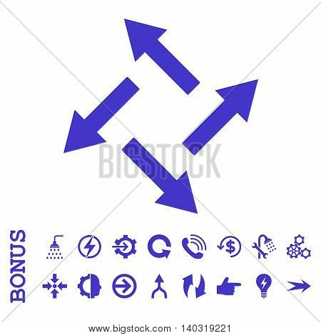 Centrifugal Arrows glyph icon. Image style is a flat pictogram symbol, violet color, white background.