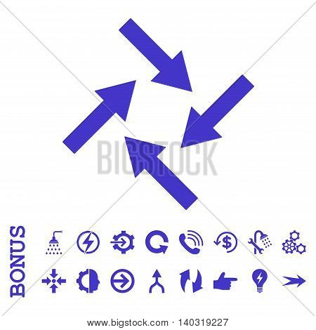 Centripetal Arrows glyph icon. Image style is a flat iconic symbol, violet color, white background.