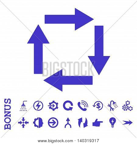 Circulation Arrows glyph icon. Image style is a flat iconic symbol, violet color, white background.