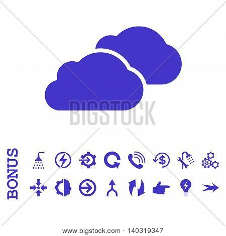 Clouds glyph icon. Image style is a flat iconic symbol, violet color, white background.