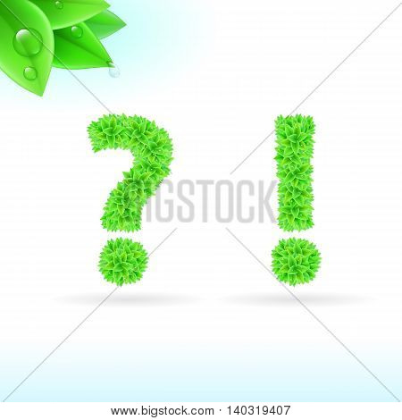 Sans serif font with green leaf decoration on white background. Question and exclamation marks