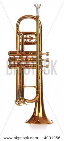 Brass cornet standing upright, short on white background