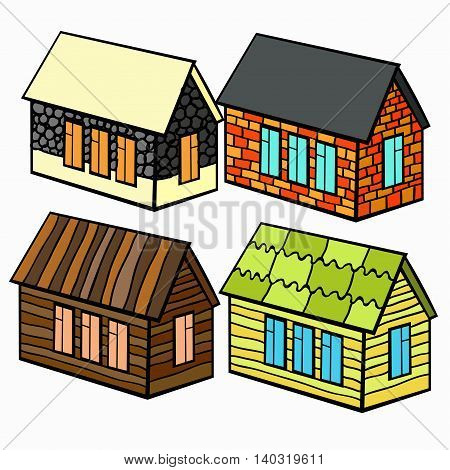 Set Of Wooden Houses And Brick And Stone For The Cartoon. Vector Illustration