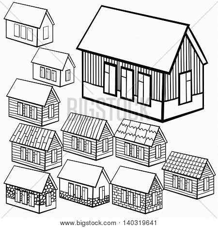 Set Of Wooden Houses And Brick, Stone Graphics. Vector Illustration