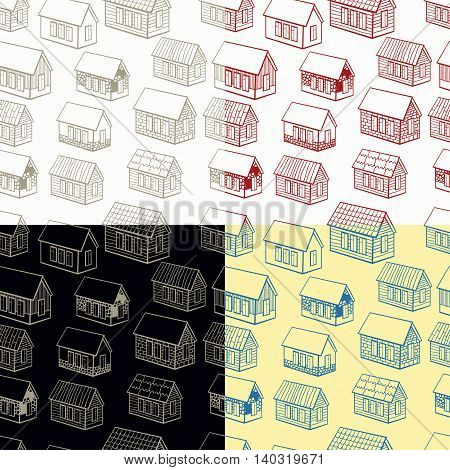Set Seamless Pattern And Of Wooden Houses Brick, Stone Graphics. Vector Illustration