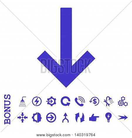 Down Arrow glyph icon. Image style is a flat iconic symbol, violet color, white background.
