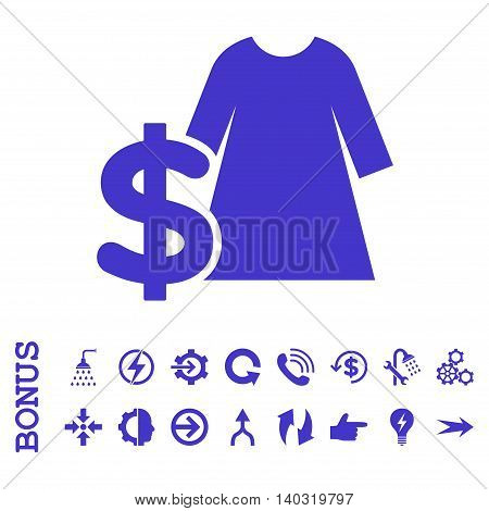 Dress Price glyph icon. Image style is a flat pictogram symbol, violet color, white background.