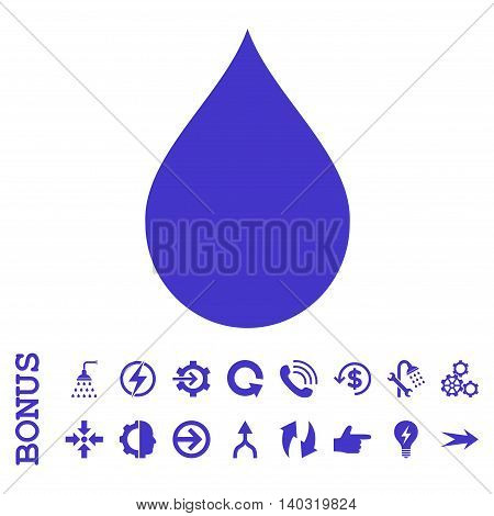 Drop glyph icon. Image style is a flat pictogram symbol, violet color, white background.