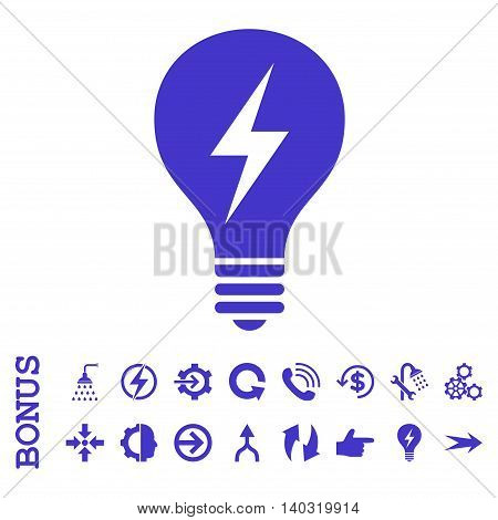 Electric Bulb glyph icon. Image style is a flat pictogram symbol, violet color, white background.