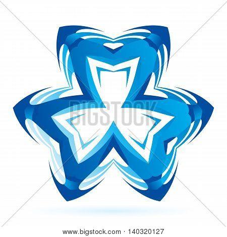 Blue symmetrical symbol on the white background.