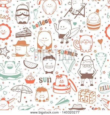 Vector summer seamless pattern with funny monsters, personages.