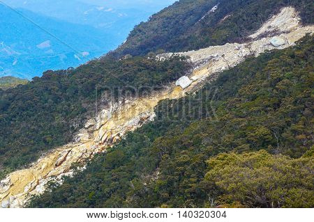 A close up view of a landslide on the side of the Kinabalu Mountain.Climbing season officially start on Dec 1, 2015 after closure due to earthquake in June 2015.