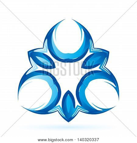Blue symmetrical sign on the white background.