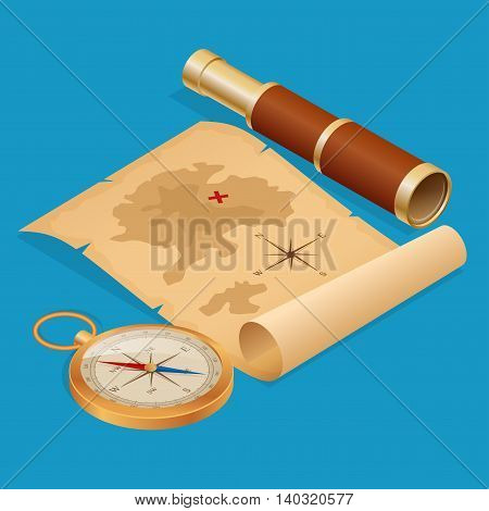 Pirate Treasure map on a ruined old Parchment with spyglass and compass vector isometric illustration.
