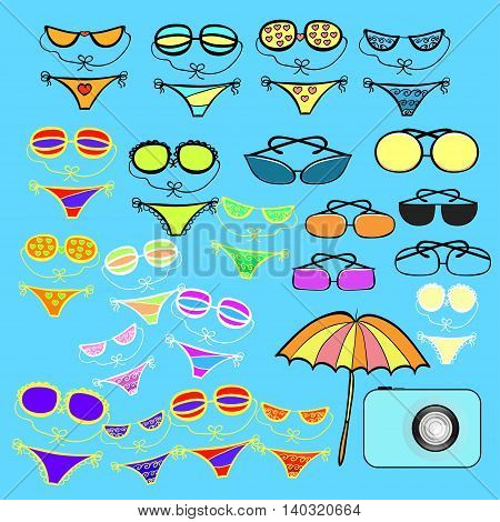 Set Of With Beach Goods, Swimwear. Vector Illustration