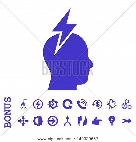 Headache glyph icon. Image style is a flat iconic symbol, violet color, white background.