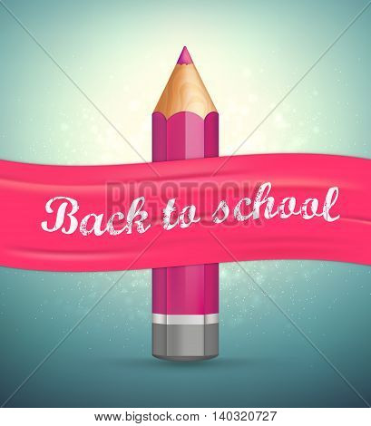 Poster with lettering Back to school. Realistic purple pencil with pink ribbon. Vector illustration.