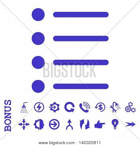 Items glyph icon. Image style is a flat iconic symbol, violet color, white background.