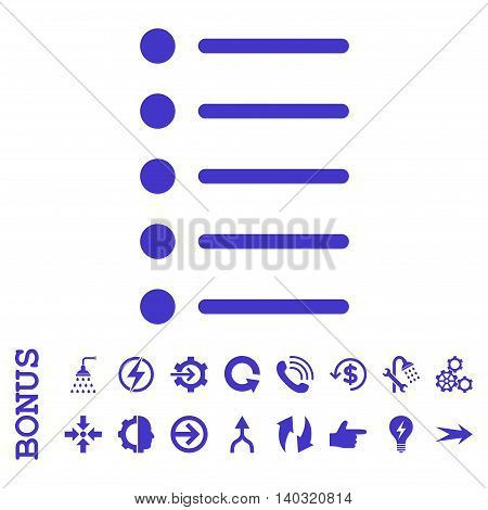 Items glyph icon. Image style is a flat pictogram symbol, violet color, white background.