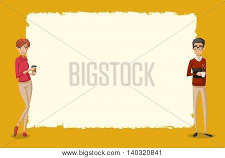 Vector banners / backgrounds with people drinking coffee. Design text box frames.
