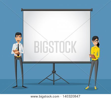 Cartoon business people and white billboard with empty space. Presentation screen.