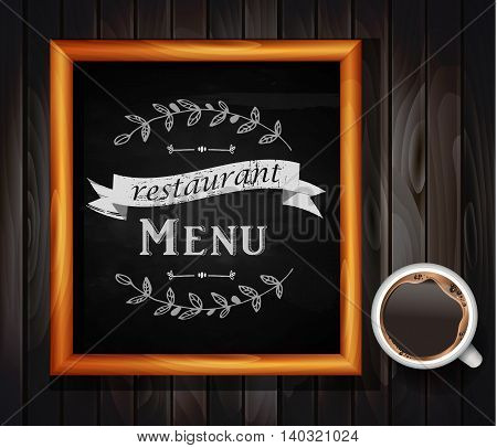 Menu on Chalkboard background with hand drawn ornament for restaurant in wooden frame on wooden background coffee