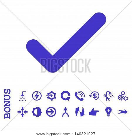 Ok glyph icon. Image style is a flat iconic symbol, violet color, white background.