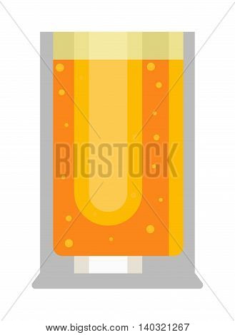 Beer glass isolated on white background. Golden light beer glass