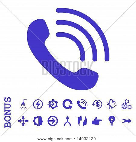 Phone Call glyph icon. Image style is a flat iconic symbol, violet color, white background.