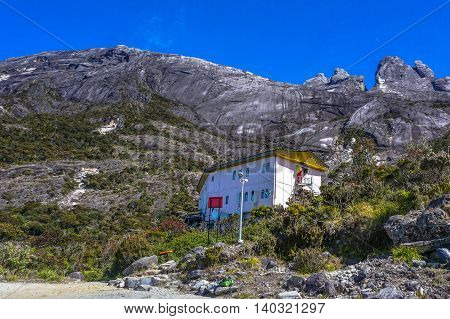Mount Kinabalu,Sabah-Mac 13,2016:The lodge at Laban Rata, near the top of Mount Kinabalu in Sabah, East MalaysiaLaban Rata offers climbers warm lodgings & hot meals before & after climbing to the peak of Mount Kinabalu.