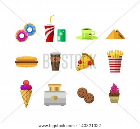 Vector food icons, sweet fast food elements. Food icons restaurant menu isolated. Cake design food icons kitchen beverage dinner and sweet dessert chine rolls. Different fast food icons