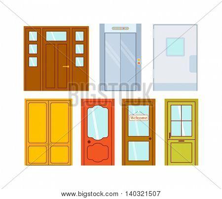 Doors isolated vector illustration.