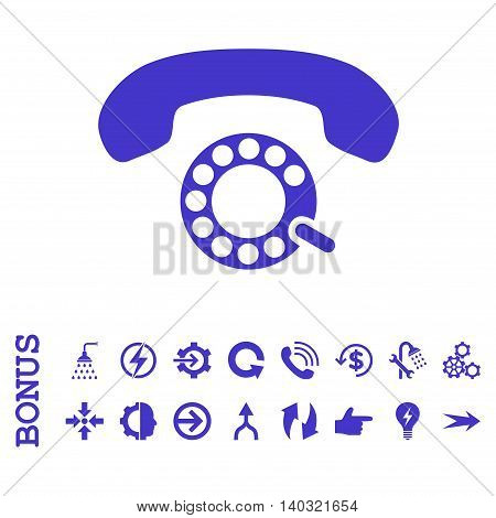 Pulse Dialing glyph icon. Image style is a flat iconic symbol, violet color, white background.
