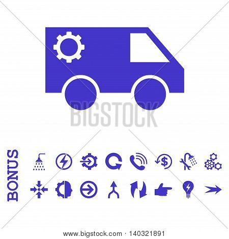 Service Car glyph icon. Image style is a flat iconic symbol, violet color, white background.