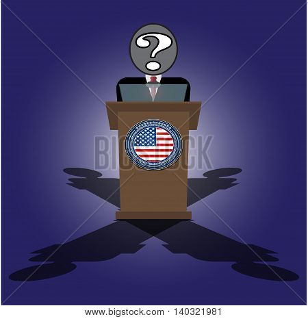 Vector Cartoon Illustration of election race in usa. A speech on the podium unknown personality of President