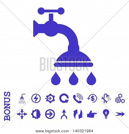 Shower Tap glyph icon. Image style is a flat pictogram symbol, violet color, white background.