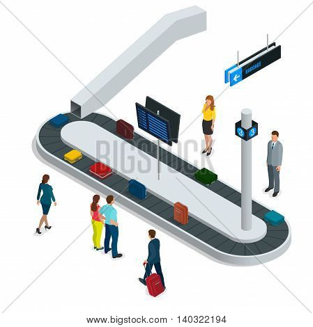 Suitcase on luggage conveyor belt in the baggage claim at airport. Flat 3d vector isometric illustration