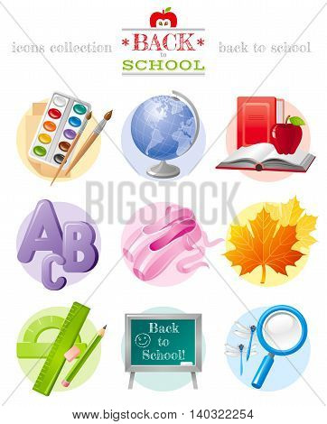 Vector illustration of back to school sale icon set with concept abstract symbols in elegant modern style. Template logo included. Education object - globe, paints, book, abc, ballet shoes, chalkboard