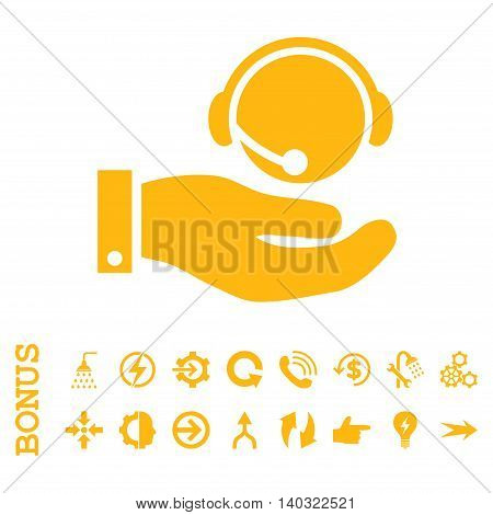 Call Center Service glyph icon. Image style is a flat iconic symbol, yellow color, white background.