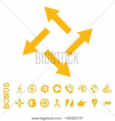 Centrifugal Arrows glyph icon. Image style is a flat pictogram symbol, yellow color, white background.