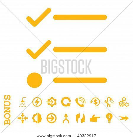 Checklist glyph icon. Image style is a flat iconic symbol, yellow color, white background.
