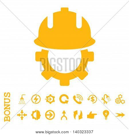 Development Helmet glyph icon. Image style is a flat pictogram symbol, yellow color, white background.