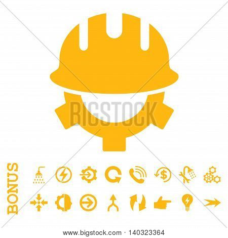Development Helmet glyph icon. Image style is a flat iconic symbol, yellow color, white background.